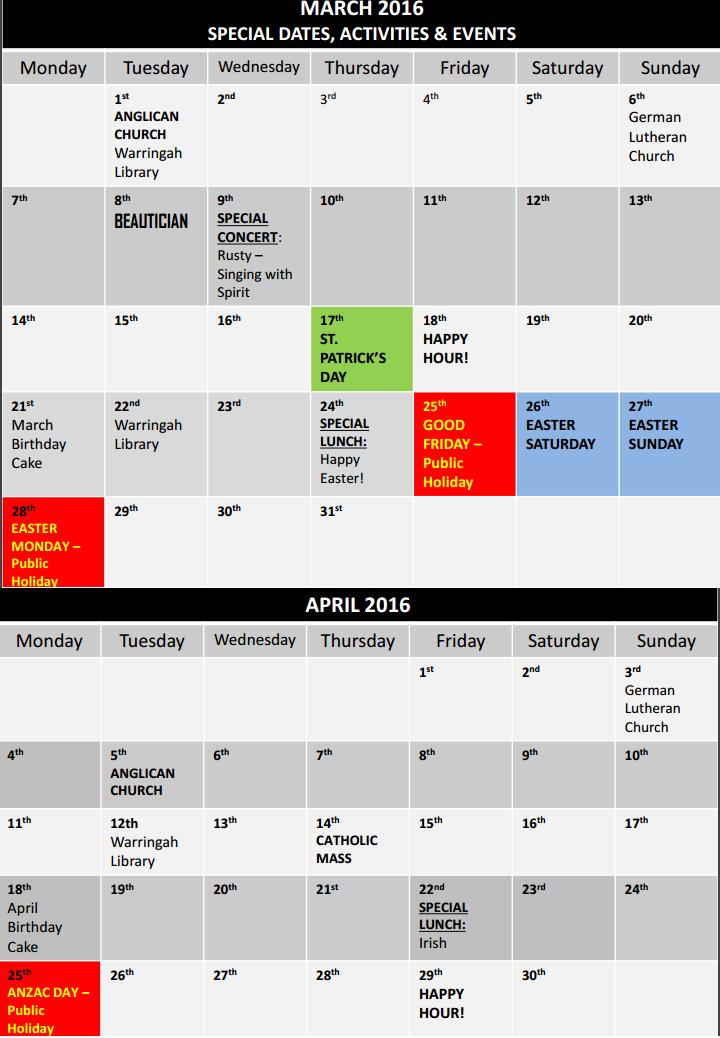 ALV Calendar of events